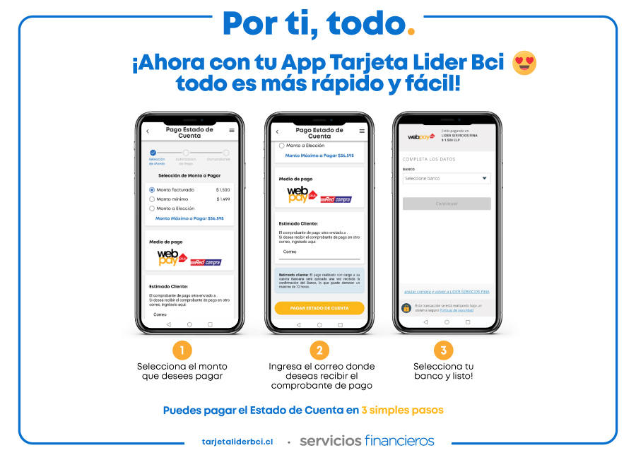 Paga tu Tarjeta Lider Bci por la app con Webpay